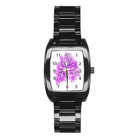 Purple Tree Stainless Steel Barrel Watch