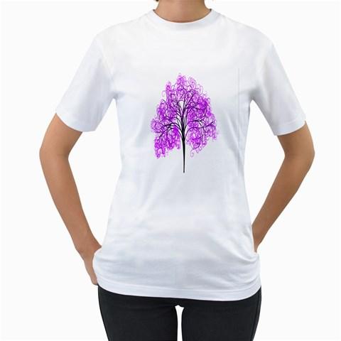 Purple Tree Women s T-Shirt (White)