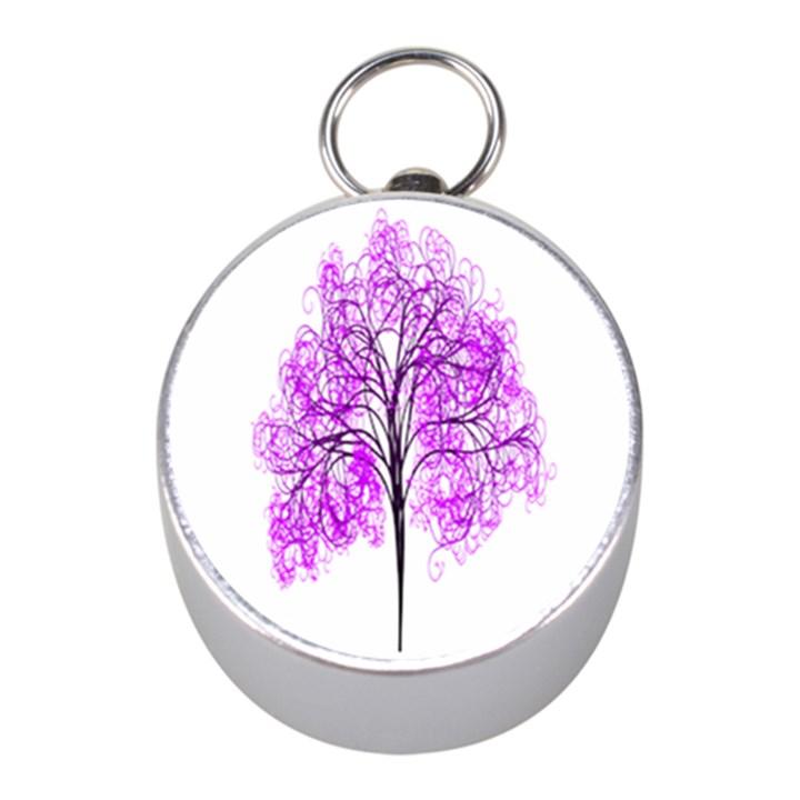 Purple Tree Mini Silver Compasses