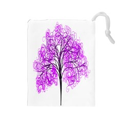 Purple Tree Drawstring Pouches (Large)