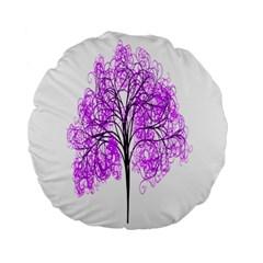 Purple Tree Standard 15  Premium Flano Round Cushions