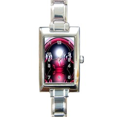 Red 3d  Computer Work Rectangle Italian Charm Watch