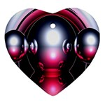 Red 3d  Computer Work Ornament (Heart)  Front