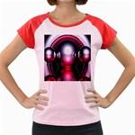 Red 3d  Computer Work Women s Cap Sleeve T-Shirt Front