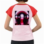 Red 3d  Computer Work Women s Cap Sleeve T-Shirt Back