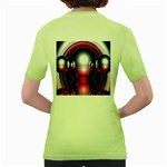 Red 3d  Computer Work Women s Green T-Shirt Back