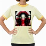Red 3d  Computer Work Women s Fitted Ringer T-Shirts Front