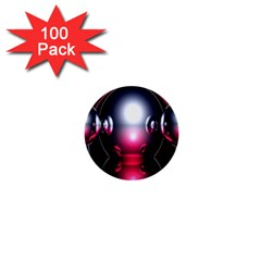 Red 3d  Computer Work 1  Mini Buttons (100 pack)