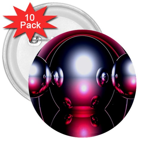 Red 3d  Computer Work 3  Buttons (10 pack)