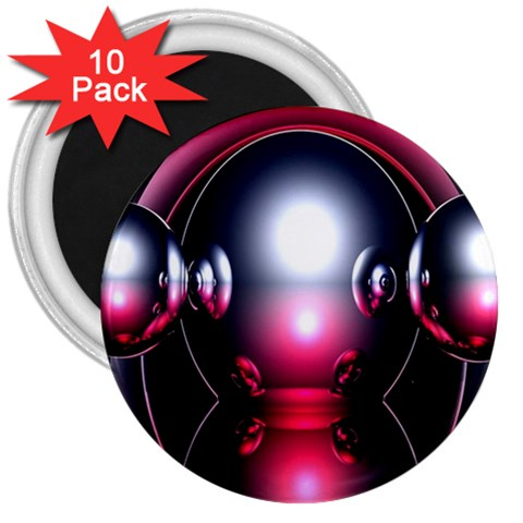 Red 3d  Computer Work 3  Magnets (10 pack)