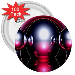 Red 3d  Computer Work 3  Buttons (100 pack)