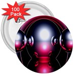 Red 3d  Computer Work 3  Buttons (100 pack)  Front