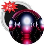 Red 3d  Computer Work 3  Magnets (100 pack) Front