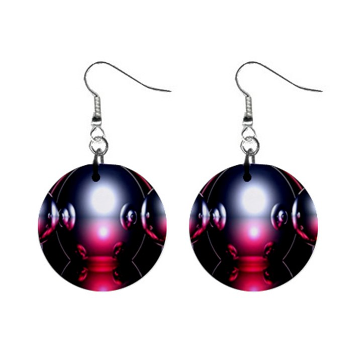 Red 3d  Computer Work Mini Button Earrings