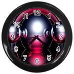 Red 3d  Computer Work Wall Clocks (Black) Front