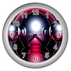 Red 3d  Computer Work Wall Clocks (Silver)