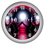 Red 3d  Computer Work Wall Clocks (Silver)  Front