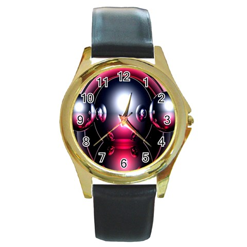 Red 3d  Computer Work Round Gold Metal Watch