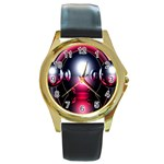 Red 3d  Computer Work Round Gold Metal Watch Front