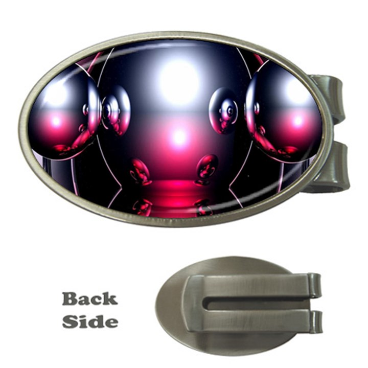 Red 3d  Computer Work Money Clips (Oval)
