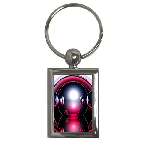 Red 3d  Computer Work Key Chains (Rectangle)