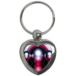 Red 3d  Computer Work Key Chains (Heart)  Front