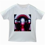 Red 3d  Computer Work Kids White T-Shirts Front
