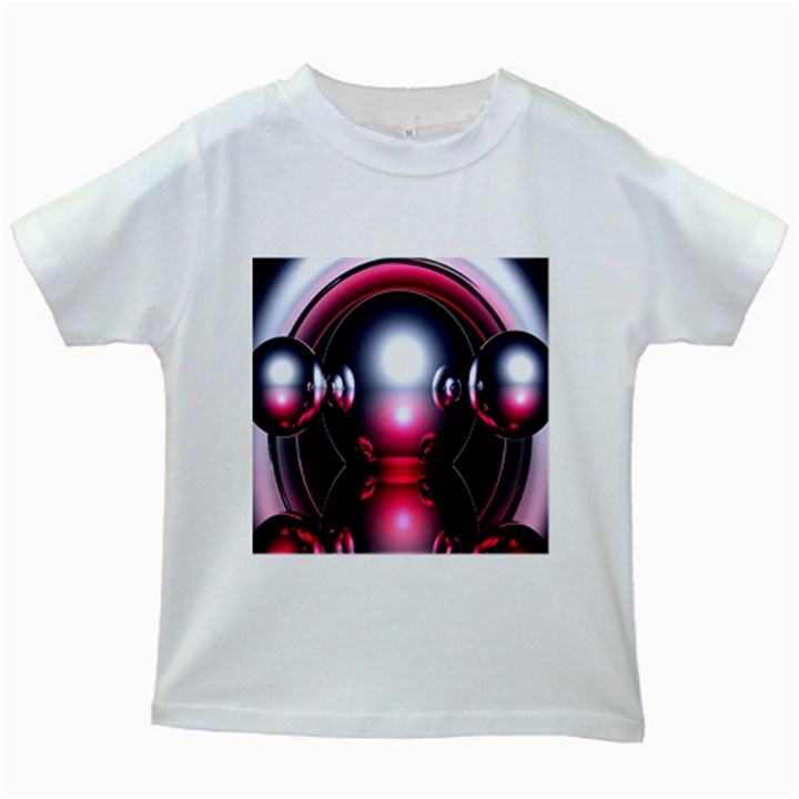 Red 3d  Computer Work Kids White T-Shirts