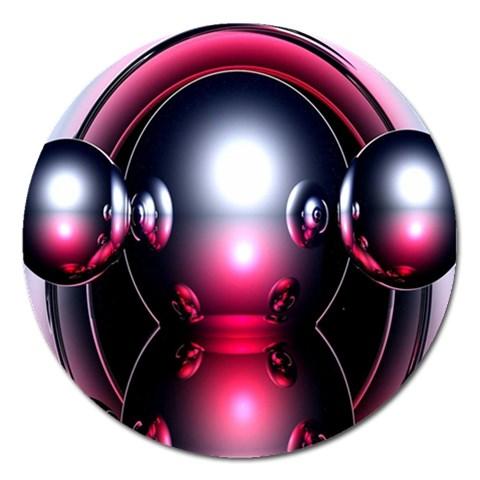 Red 3d  Computer Work Magnet 5  (Round)