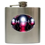 Red 3d  Computer Work Hip Flask (6 oz) Front