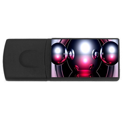 Red 3d  Computer Work USB Flash Drive Rectangular (1 GB)