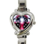 Red 3d  Computer Work Heart Italian Charm Watch Front