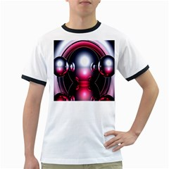 Red 3d  Computer Work Ringer T-Shirts