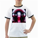 Red 3d  Computer Work Ringer T-Shirts Front
