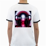 Red 3d  Computer Work Ringer T-Shirts Back