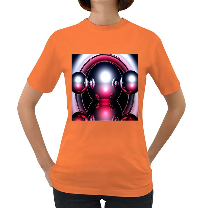 Red 3d  Computer Work Women s Dark T-Shirt