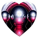 Red 3d  Computer Work Jigsaw Puzzle (Heart) Front