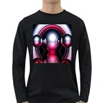 Red 3d  Computer Work Long Sleeve Dark T-Shirts Front