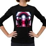 Red 3d  Computer Work Women s Long Sleeve Dark T-Shirts Front