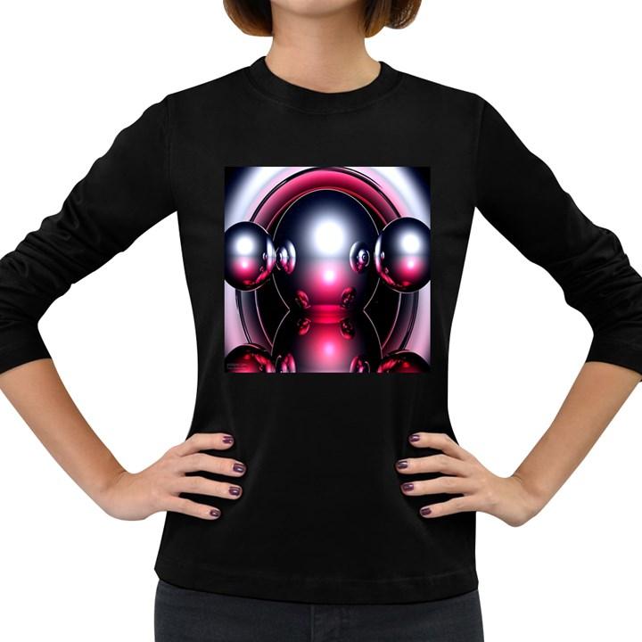 Red 3d  Computer Work Women s Long Sleeve Dark T-Shirts