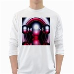 Red 3d  Computer Work White Long Sleeve T-Shirts Front