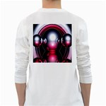 Red 3d  Computer Work White Long Sleeve T-Shirts Back