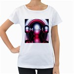 Red 3d  Computer Work Women s Loose-Fit T-Shirt (White) Front