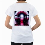 Red 3d  Computer Work Women s Loose-Fit T-Shirt (White) Back