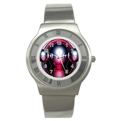 Red 3d  Computer Work Stainless Steel Watch