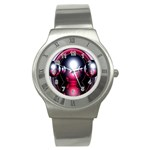 Red 3d  Computer Work Stainless Steel Watch Front