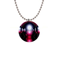Red 3d  Computer Work Button Necklaces