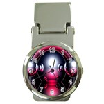 Red 3d  Computer Work Money Clip Watches Front