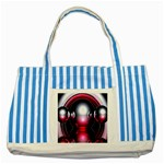 Red 3d  Computer Work Striped Blue Tote Bag Front
