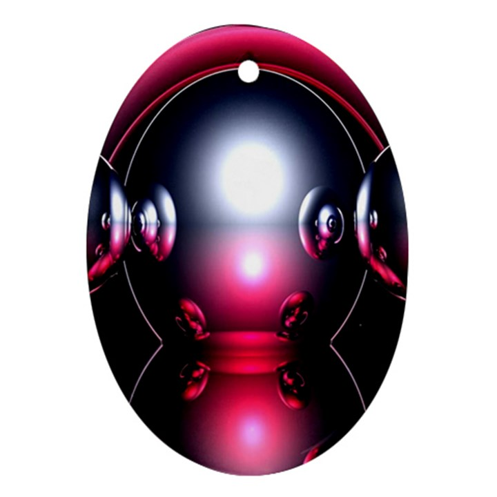 Red 3d  Computer Work Oval Ornament (Two Sides)